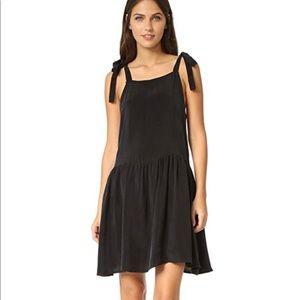 ANINE BING Black Silk Dress w/ Shoulder Ties